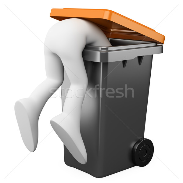3D person looking for something in a bin Stock photo © texelart