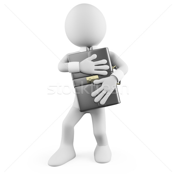 Businessman protecting his briefcase Stock photo © texelart