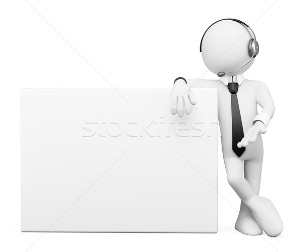 3D white people. Operator with a blank poster Stock photo © texelart