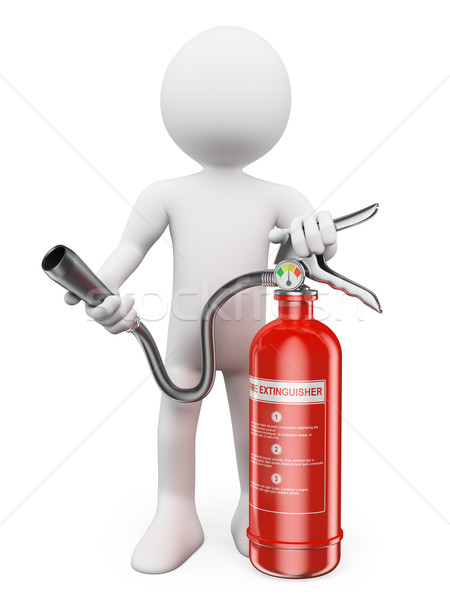 3D white people. Fire extinguisher Stock photo © texelart