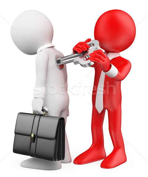 3D white people. Man winding up an employee. Motivation metaphor Stock photo © texelart
