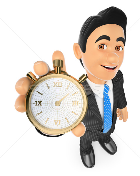3D Businessman with a gold stopwatch. Time is money Stock photo © texelart