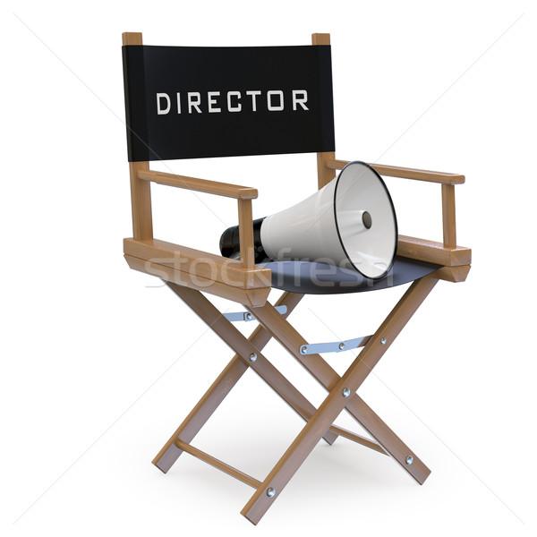 Film szék megafon renderelt magas döntés Stock fotó © texelart