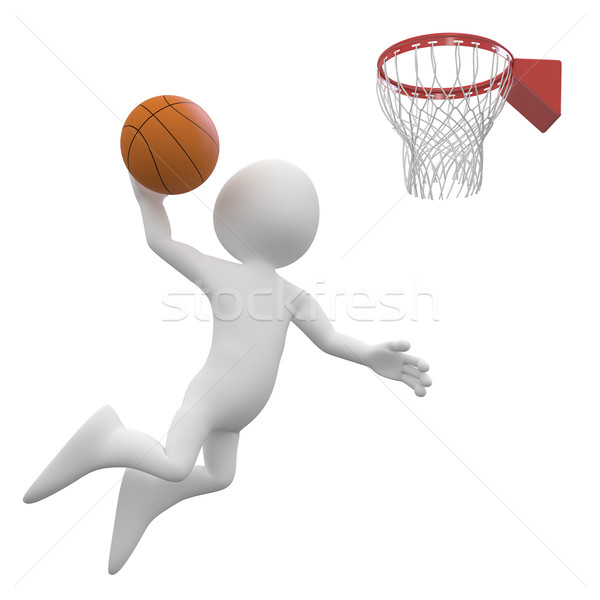 Basketball player making a dunk in the basket Stock photo © texelart
