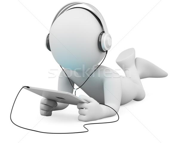 3D fehér emberek tabletta fejhallgató fehér személy Stock fotó © texelart