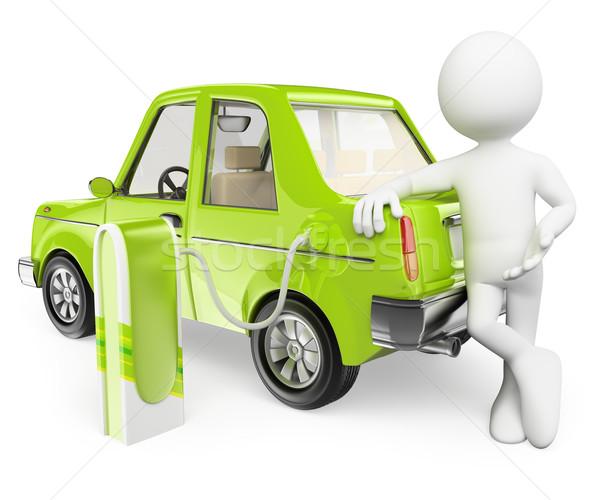 3D pessoas brancas carro elétrico isolado branco carro Foto stock © texelart