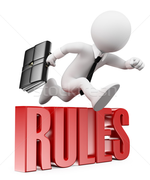 3D white people. Businessman breaking the rules Stock photo © texelart