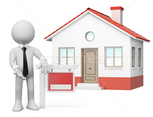 3D white people. Real estate. For sale Stock photo © texelart