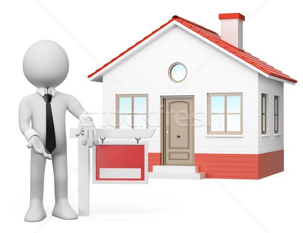 Foto d'archivio: 3D · i · bianchi · immobiliari · vendita · agente · immobiliare