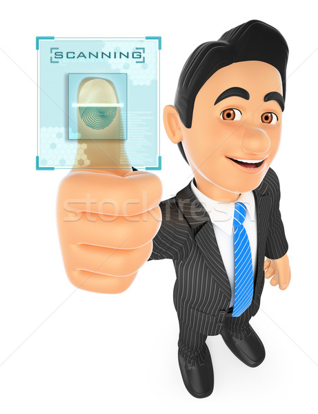 3D Businessman identifying with fingerprint Stock photo © texelart