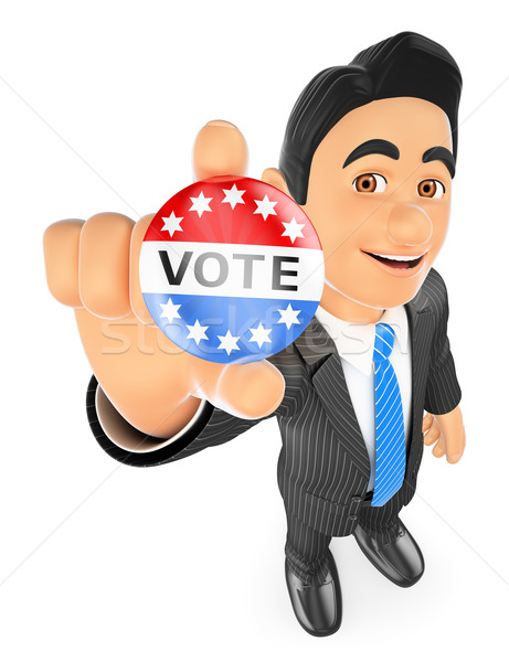 3D Businessman with a vote badge Stock photo © texelart