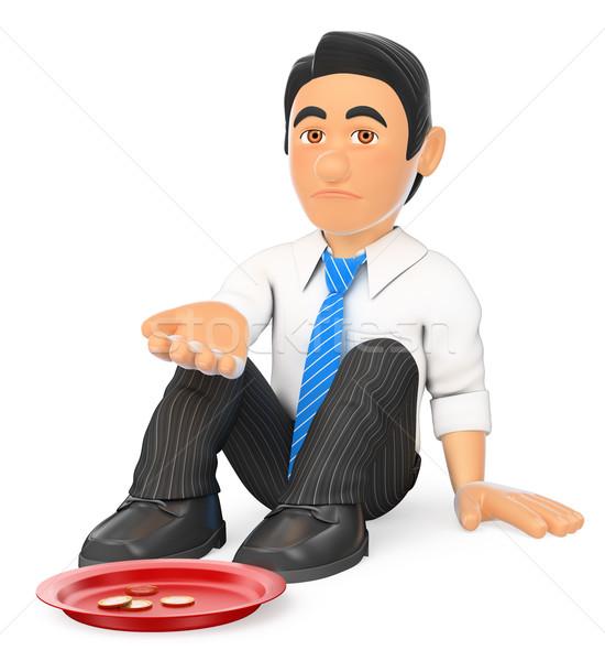 3D Businessman sitting on the floor begging for money Stock photo © texelart