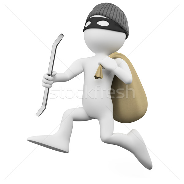 Thief running with a crowbar and a sack Stock photo © texelart