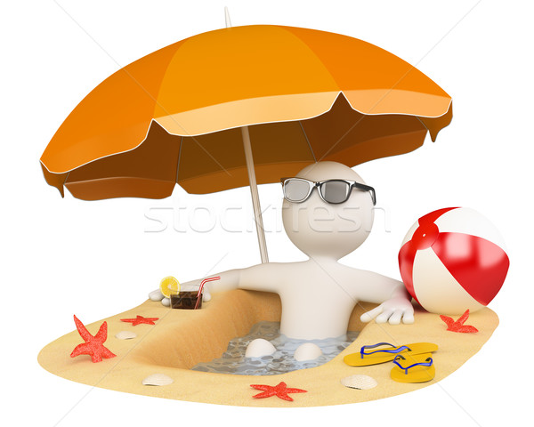 3D white people. Summer beach Stock photo © texelart