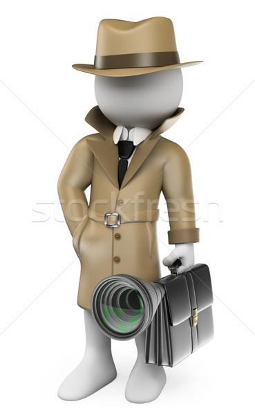 3D white people. Industrial espionage. Detective Stock photo © texelart