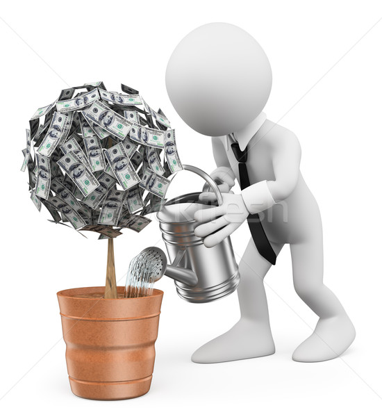 3D white people. Businessman watering a money plant Stock photo © texelart