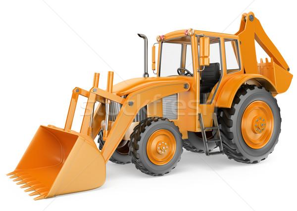 3D Backhoe loader. Digger Stock photo © texelart