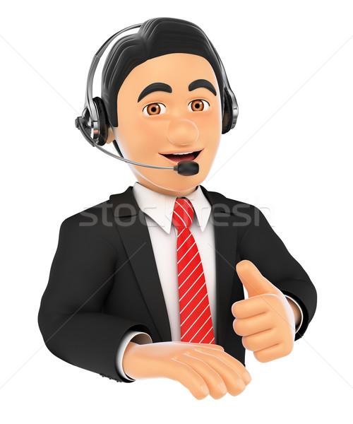 Stockfoto: 3D · call · center · werknemer · duim · omhoog · zakenlieden