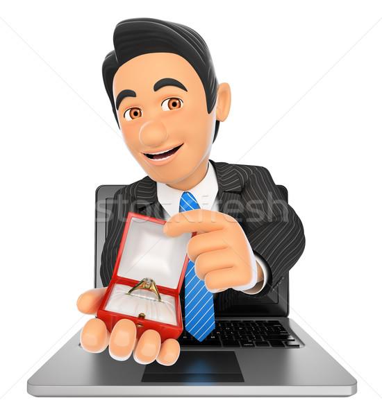3D affaires sur portable écran engagement Photo stock © texelart