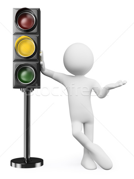 3D fehér emberek borostyánkő jelzőlámpa férfi dől Stock fotó © texelart