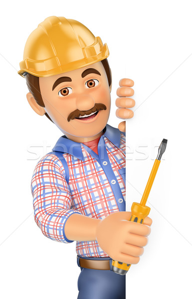 3D Electrician with a screwdriver pointing aside. Blank space Stock photo © texelart