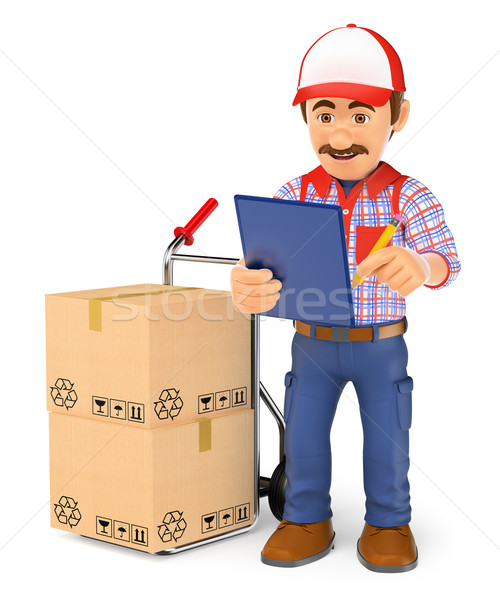 3D Courier delivery man checking the packages to deliver Stock photo © texelart