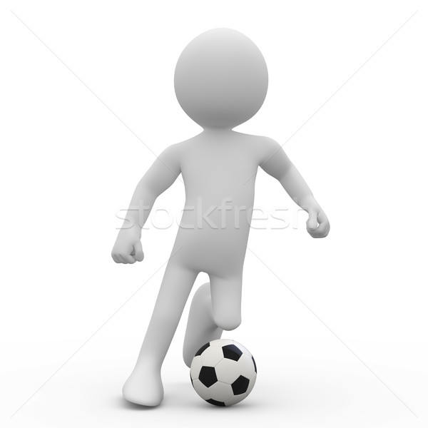 Football player dribbling with a ball Stock photo © texelart