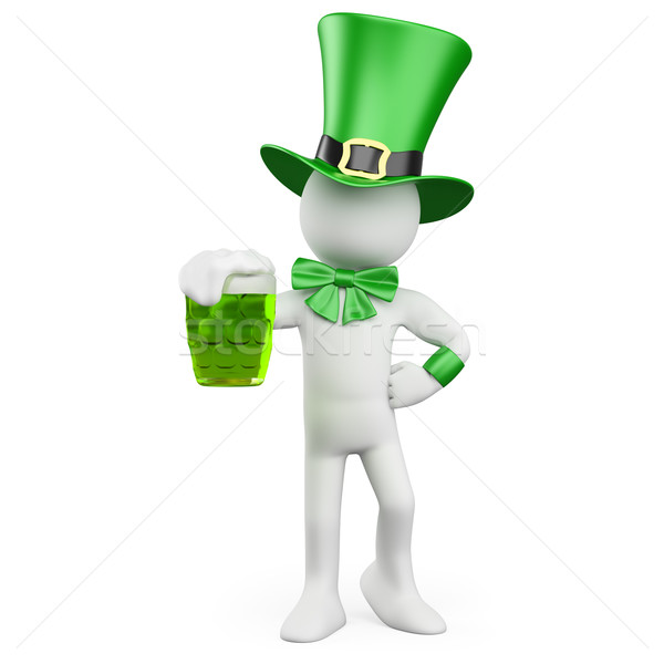 Man celebrating St. Patrick's day with a green beer and a hat Stock photo © texelart