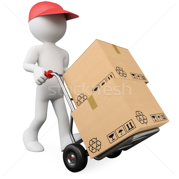 3D worker pushing a hand truck with boxes Stock photo © texelart