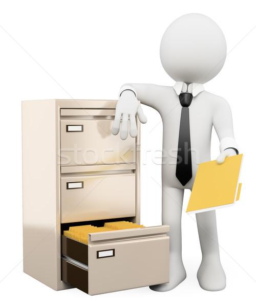 3D beyaz insanlar dosya dolap beyaz kişi Stok fotoğraf © texelart