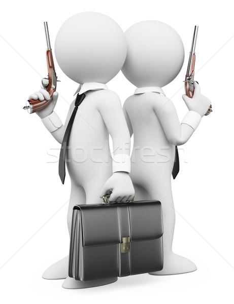 3D белые люди дуэль два бизнесменов классический Сток-фото © texelart