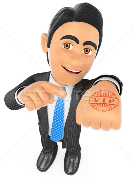 3D imprenditore mano timbro vip uomini d'affari Foto d'archivio © texelart