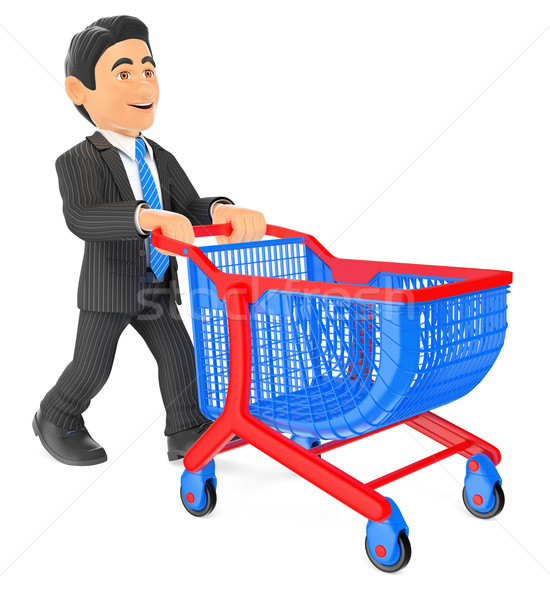 Stock photo: 3D Businessman pushing a shopping cart