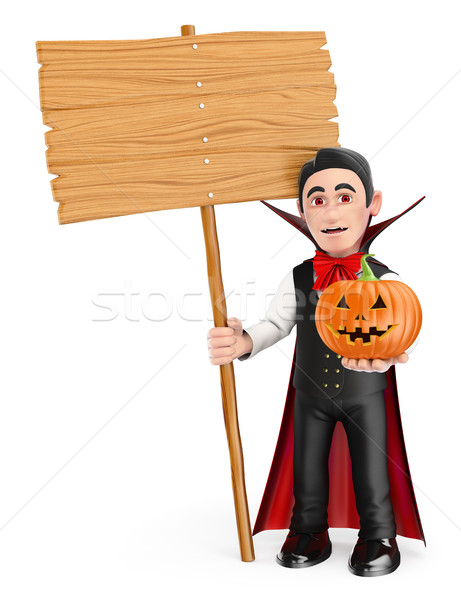 3D Funny monster. Vampire with a blank wooden sign and a pumpkin Stock photo © texelart