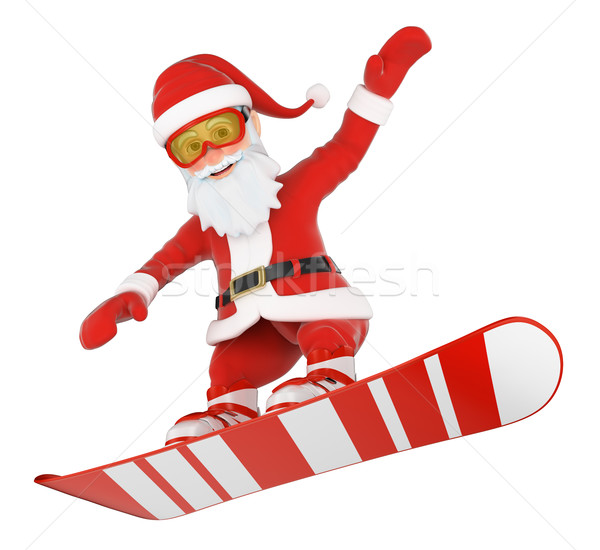 3D kerstman snowboarden springen christmas mensen Stockfoto © texelart