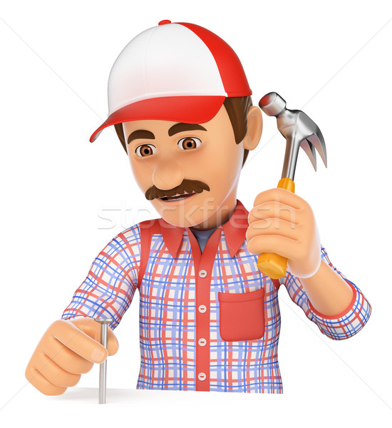 3D Worker nailing a nail with a hammer Stock photo © texelart