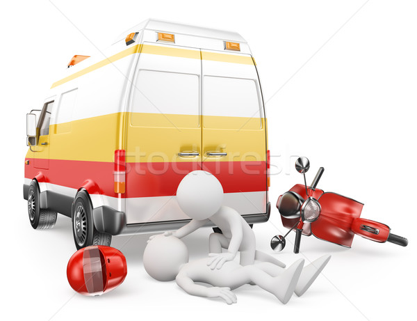 3D blancs ambulance moto accident Photo stock © texelart