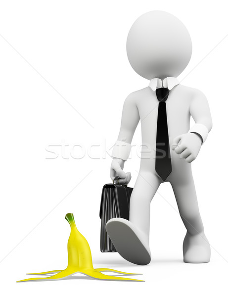 3D white people. Occupational risks prevention concept Stock photo © texelart