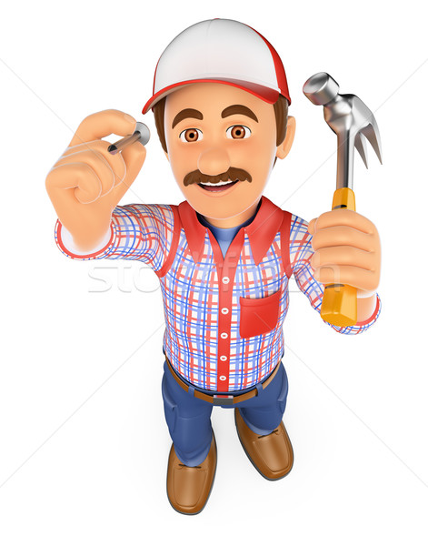 3D Handyman hammering a nail with a hammer Stock photo © texelart