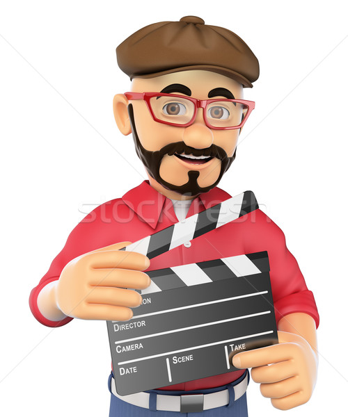 3D Film director with a clapperboard Stock photo © texelart