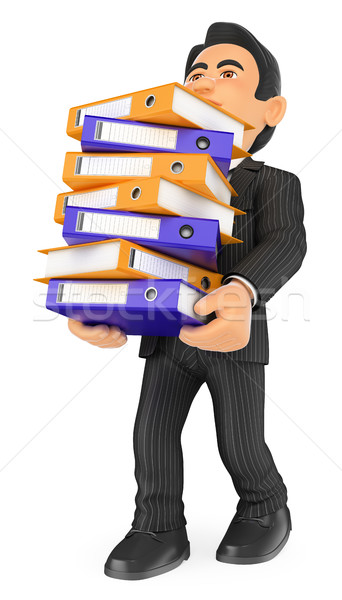 3D Businessman loaded with many filing cabinets. Work overload Stock photo © texelart