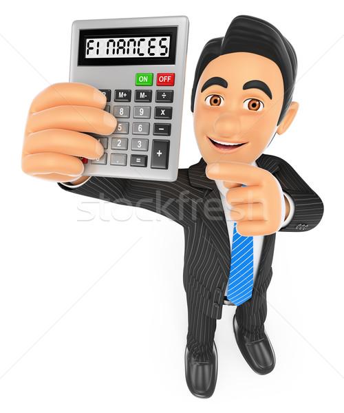 Foto stock: 3D · empresario · calculadora · gente · de · negocios