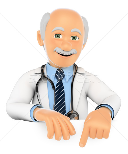 3D Doctor pointing down. Blank space Stock photo © texelart