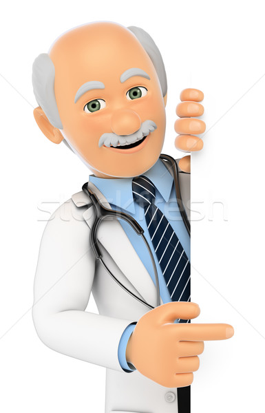 3D Doctor pointing aside. Blank space Stock photo © texelart