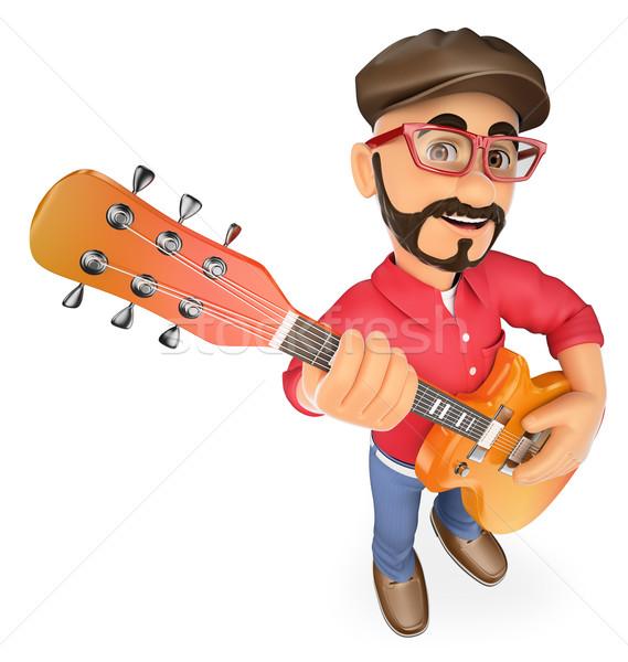 3D estrela do rock jogar guitarra mostrar pessoas de negócios Foto stock © texelart