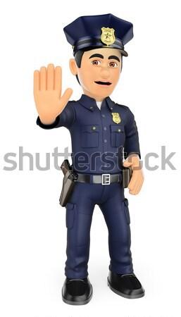 3D Policeman running with baton in hand Stock photo © texelart