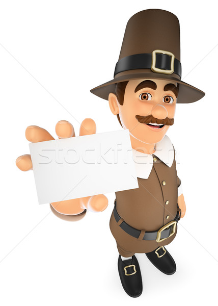 3D Thanksgiving man showing a blank card Stock photo © texelart