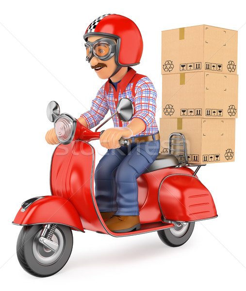 3D Courier delivery man delivering a package by scooter motorcyc Stock photo © texelart
