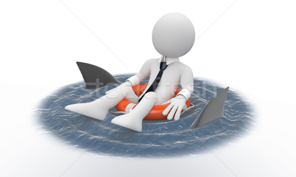 Businessman floating in a life preserver with sharks around Stock photo © texelart