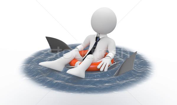 üzletember lebeg élet cápák körül renderelt Stock fotó © texelart